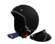 Casco demi jet tre bottoni DF1 nero opaco -bordino cromato