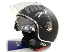 Casco jet DF3  doppia visiera -nero opaco -bordino cromato -visierino specchio