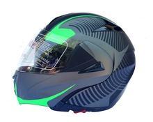 Casco modulare DF900HG doppia visiera Flip-up decal green