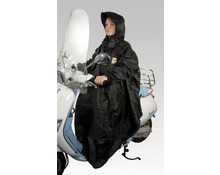 Black raincoat poncho