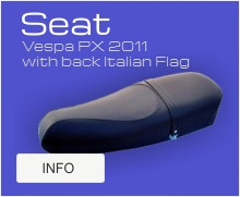 Vespa PX 2011 seat with back Italian Flag